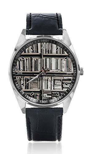 Retro Bücherregal Herren Ledergürtel Uhr Einfache Klassische Sportuhr für Herren Schlichtes Design und Mode