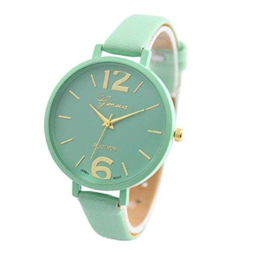 Xinantime Relojes Pulsera Mujer,Xinan Ginebra Imitación Cuero de Cuarzo Analógico Relojes (Menta Verde)