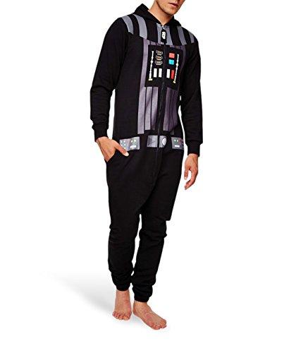 Star Wars Kapuzen-Jumpsuit Darth Vader (Onesize) - Farbe: schwarz. 65% Polyester, 35% Baumwollfleece, beidseitig bedruckt.