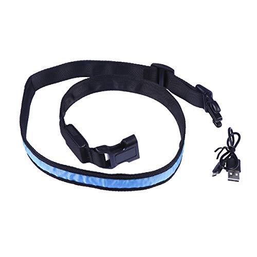 BESPORTBLE Outdoor Sports LED Gürtel Nachtlaufen USB wiederaufladbare Warnung Gürtel (blau)
