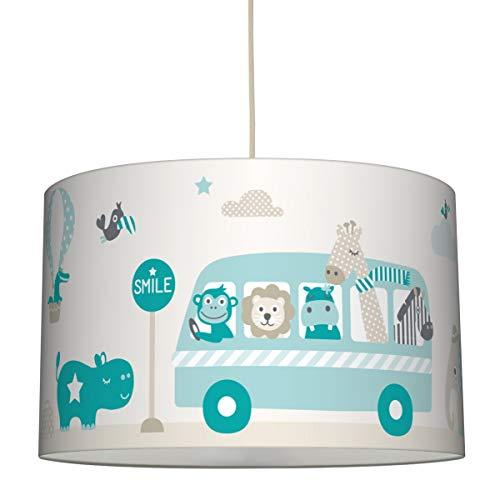 lovely label Hängelampe Tiere ON Tour Taupe/Mint/Petrol – Lampenschirm für Kinder/Baby, Schirm mit Tieren, Bus & Heißluftballons – Komplette Hängeleuchte für Kinderzimmer Mädchen & Junge