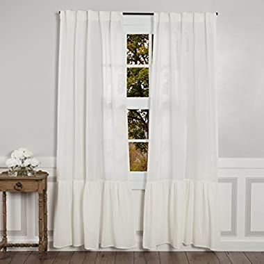 Sophia High Ruffle Panel Curtains, Set of 2, 84  Long, Antique Cream-White Semi-Sheer, Vintage Farmhouse Chic Style Drapes