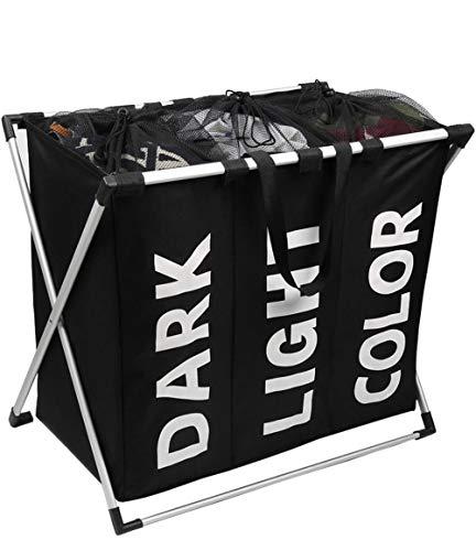 SHENHAI Eco Bag Aufbewahrungskorb für schmutzige Kleidung Dreiteiliger tragbarer Wäschekorb Aufbewahrungseimer Black_Average Code