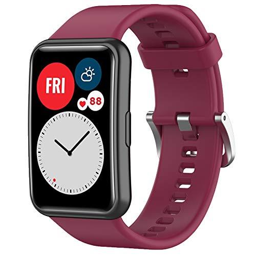 Wownadu Correas Compatible para Huawei Watch Fit Correa Mujer Hombre Intercambiable Pulsera, Sangría Repuesto Accesorios Band (Sin reloj)