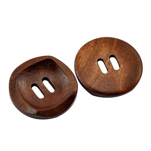 25 botones de costura redondos de madera con 2 agujeros, 30 mm, para manualidades, ropa, álbumes de recortes, qingsb