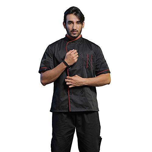 TOPTIE Unisex Short Sleeve Chef Coat Jacket, Black with Red