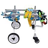 Silla de ruedas de aleación de aluminio para silla de ruedas para mascotas Rueda para silla de ruedas para cuatro ruedas Soporte completo para rehabilitación de mascotas Silla (XS Ensanchamiento)
