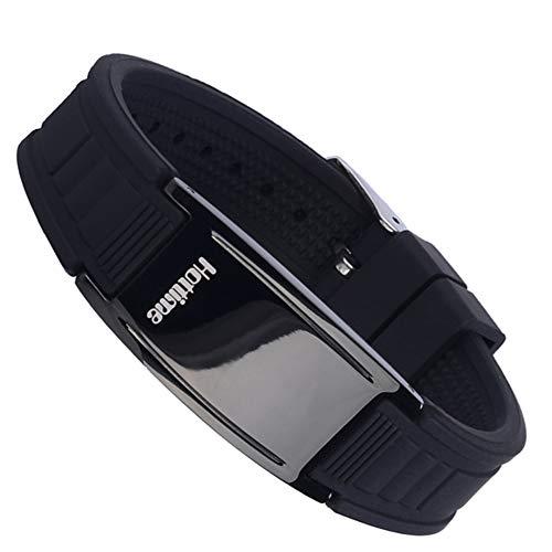 SH-JTL Magnetische Armband voor heren kan worden aangepast, met siliconen titanium staal voor de behandeling van Retro, kan worden gebruikt voor entertainment of geschenken (zwart)