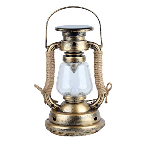 Solar Hanging Candle Light,Retro Antique LED Oil Lamp Hurricane Miners Lantern with Rope for Garden Tree Table Reading Camping (Warm Light)