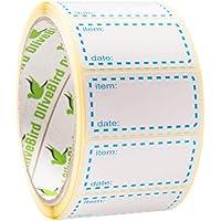 500 x Etiquetas para congelador en rollo, tamaño 50x25mm, azul y blanco Etiquetas fechadas para alimentos autoadhesivos
