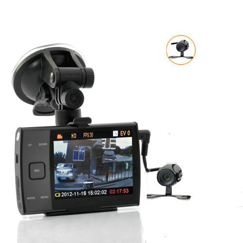 BW® HD 720p Dual Camera Car DVR - 3.5 Inch Display, 120 Wide Viewing...