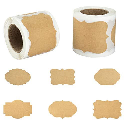 Irich Selbstklebend Kraftpapier Sticker, 2 Rolle 300 Aufkleber-Etiketten, Wiederverwendbar Tafelaufkleber für Hochzeit Flaschen Einladungen Tischdeko Geschenke Organisieren (6 Größen)