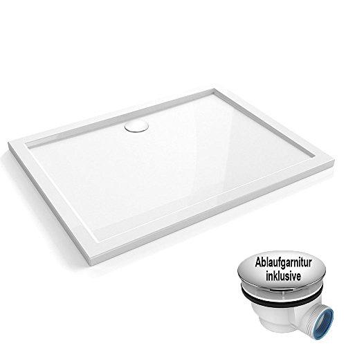 80x100x4 cm | Duschtasse Duschwanne Amrum02 aus Acryl inkl. Ablaufgarnitur AGD01 mit flexiblem Schlauch | in hochglanz weiß | Ablaufdurchmesser 90mm
