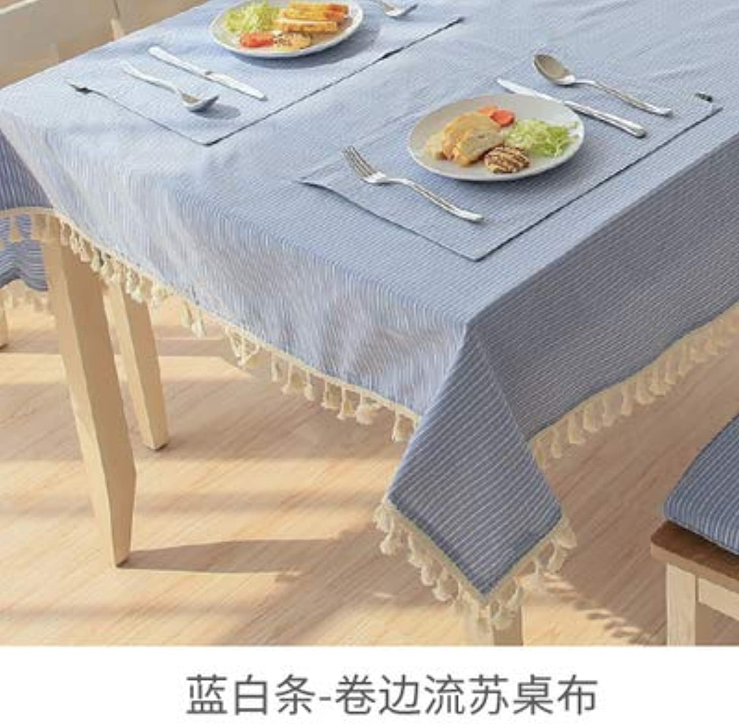 Creek Ywh Japanese tablecloth fabric rectangular table cloth simple coffee table tablecloth fabric cotton linen tablecloth garden, bluee and white, 140180cm
