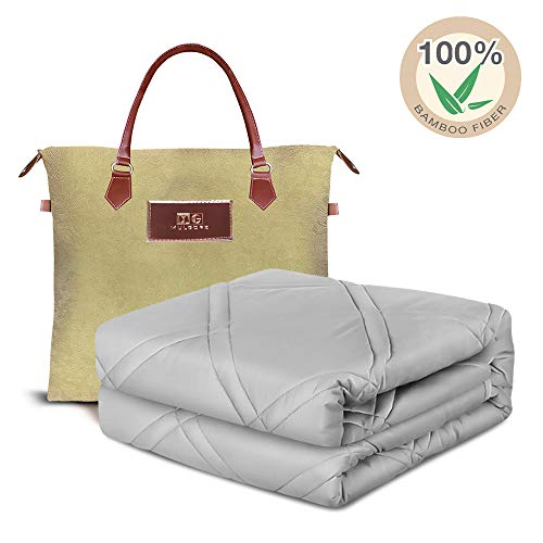 MG MULGORE Cooling Weighted Blanket | 100% Natural Bamboo with Premium Glass Beads | 60'x80', 20 lb for 150-200 lbs Individual | for Adult and Kids | Luxury Cooler Version Heavy Blanket | Cold Grey