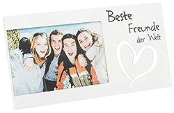 Brandsseller Bilderrahmen Fotorahmen - Beste Freunde der Welt - mit Spiegelherz 25x13x1,5 cm Matt-Weiß