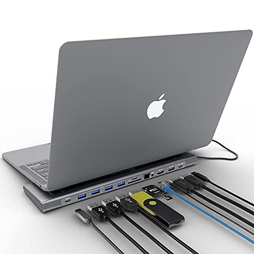 XtremeMac® Adaptateur hub USB C 12en1, station d'accueil pour ordinateur portable type C : Ethernet, 4x USB 3.0, 2x USB-C PD, 2x 4K HDMI, micro audio, lecteur carte SD/TF, pour MacBook Pro et laptops