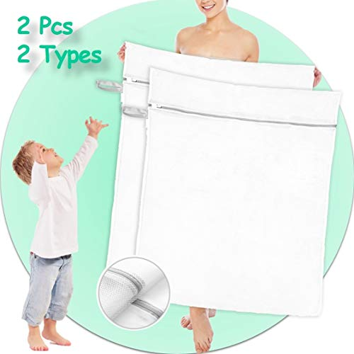 Extra Large Mesh Laundry Bag - 2 Pack 43 x 35in Zippered Wash Bags for College Dorm Heavy Duty Washing Machine Net for Sweater Clothes Robe Blanket Sheet Quilt Towel XL Hanging Storage Organizer White