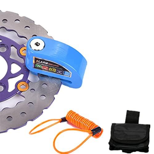 MJJCY Cerradura antirrobo Motocicleta Scooter Security Anti-Robo Impermeable Rueda de Rueda Bloqueo de Freno Alarma + Recordatorio Cable y Alarma Bolsa de Bloqueo Herramienta (Color : Blue)
