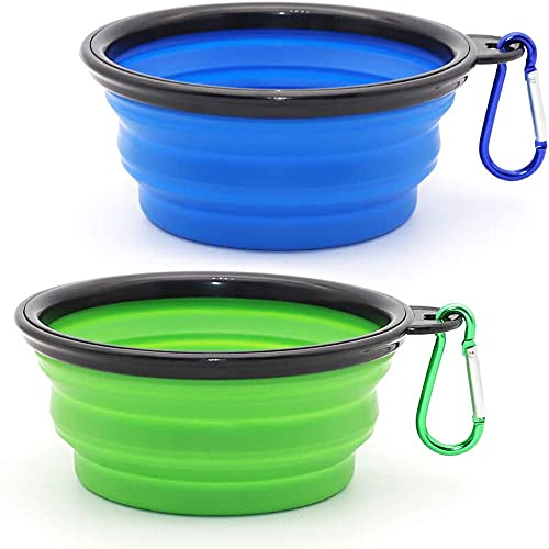 Louis Donne Collapsible Dog Bowl, 2-Pack Small Size, Food Grade Silicone BPA Free, Collapsible Expandable Dish, Pet Cat & Dog Food Water Feeding, Portable Travel Bowl Blue and Green