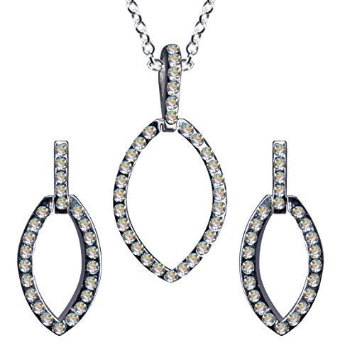 Juego de joyas de plata de ley 925, pendientes + cadena + colgante, estilo modernista Art Nouveau collar colgante cadena plata colgante pendientes circonitas cristales Art Deco nuevo blanco claro