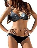 Yuson Girl Bikini de dos piezas para mujer, atado al cuello, parte superior acolchada, color oscuro, con nudos, braguita de bikini push up, bikini sexy, tanga, traje de baño para mujer azul M
