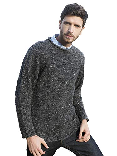 Aran Crafts Men's Irish Cable Knitted Wool Curl Neck Sweater (K4594-MED-CHAR) Charcoal