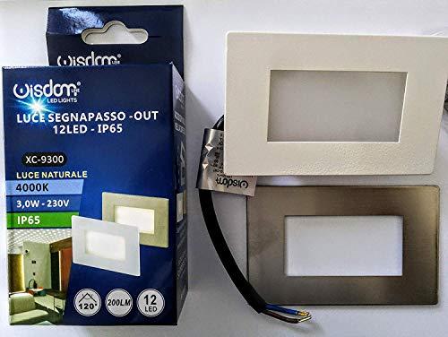 Faretto segnapasso led per cassetta 503 3W 4000k 220v ip65 per interno e esterno luce naturale 200 lumen potenza 3 W 12 led [Classe di efficienza energetica A+] - WISDOM LINE XC-9300/865