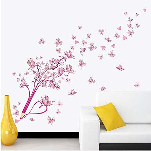 OTXA Fliegende rosa buttrfly Blume blüte Bleistift Baum abnehmbare Wohnzimmer mädchen Schlafzimmer wandaufkleber DIY wohnkultur Aufkleber wandbild