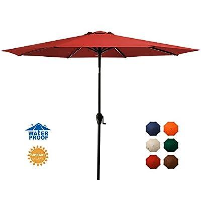 MEWAY 9ft Patio Umbrella Outdoor Umbrella Patio Table Umbrella Garden Umbrella with Tilt and Crank for Commercial Event Market, Garden, Deck,Backyard,Pool and Patio Table (9 ft, Burgundy)