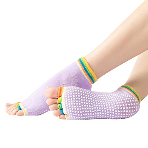 cinnamou Yoga Socken Ballettsocken Tanzende Socken Rutschfeste Socken Damen Toe Sox Zehensocken mit 5 Zehen Kickboxing Pilates 5 Finger Socken Yoga Socken Anti Rutsch Socken Ballett Bodensocken