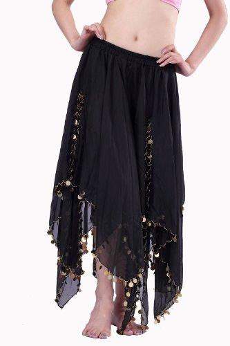 Belly Dance Dancing Skirt Costume With Golden Coins Skirt (Black)