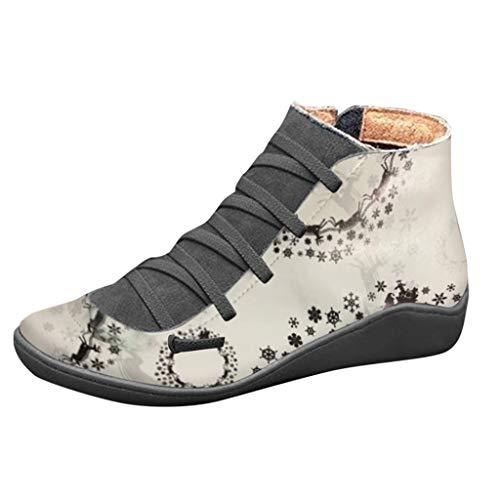 Andouy Damen Stiefeletten Casual Schnürstiefel Weihnachten Drucken Seitlicher Reißvers Flache Stiefel(36 EU,Grau)