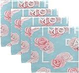 BONRI Set di 4 Happy Mothers Day Blooming Pink Rose Flower su tovaglioli di Stoffa Blu Tovaglioli in Poliestere Lavabili per Tavolo da Pranzo Festa di Matrimonio Vacanze Autunnali 20'X20'