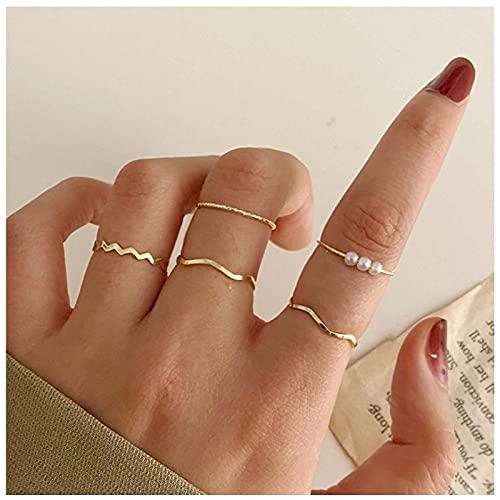 Yheakne Boho - Juego de anillos apilables para nudillos con perlas doradas, anillos minimalistas para los dedos de los pies, anillos para las articulaciones tallados para mujeres y niñas (estilo C)