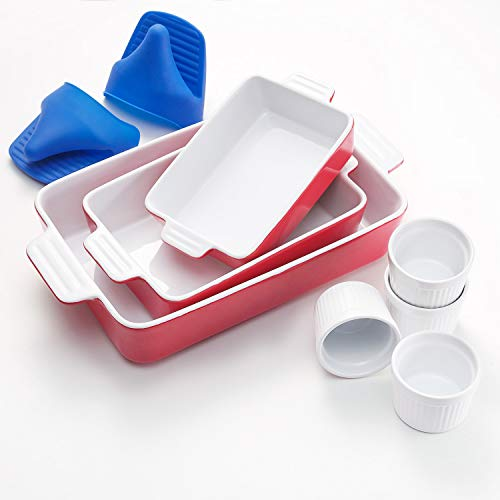 Vexilsy Ceramic Bakeware Set, Baking Dish Set Includes 3 Rectangular Nonstick Casserole Dish, 4 Ramekins, Silicone Double Finger Grip, Baking Pans for Lasagna Pan,Cooking,Cake, Dinner,Daily Use (Red)