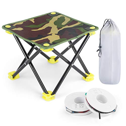 Folding Camping Stool Portable Outdoor Fishing Chair and 2 Pcs Fishing Lines for Travel Hiking Gardening Picnic Beach BBQ Camping Seat with Carry Bag