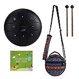 ammoon tamburo in acciaio, mini tamburo della lingua 5,5 pollici 8 notes c-key tamburo del handpan strumento a percussione con mazzuole borsa per meditazione yoga zazen educazione musicale