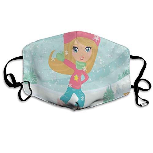 Leuke Meisje Schaatsen Op IJs In Idyllische Sneeuw Overdekte Dorp Speelkamer ThemaPrinting Veiligheid Mond Cover voor Volwassen