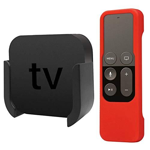 AUSWAUR TV-Halterung kompatibel mit Apple TV 4K/4th Generation, Wandhalterung mit Halterung kompatibel mit Apple TV 4th und 4K, mit Rot Silikon-Schutzetui für Siri-Fernbedienung
