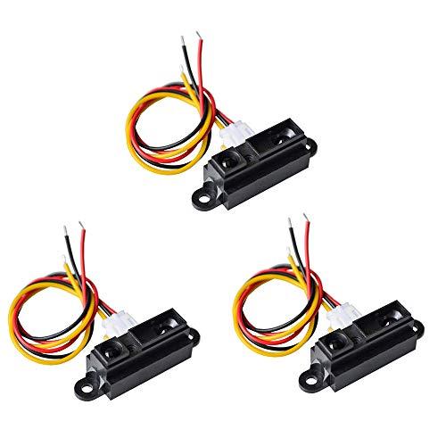 KOOBOOK 3Pcs Infrared Proximity Distance Sensor Module 0A41SK GP2Y0A41SK0F Range 4-30cm with Cable
