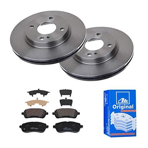 2 Bremsscheiben belüftet 258 mm + Bremsbeläge Vorne von ATE (1420-22001) Bremsensatz Bremsanlage Bremsen-Kit,Bremsenset, Bremsscheiben, Bremsbeläge, Bremsen-Set, Beläge, Bremsbelag, Bremsbelagsatz,