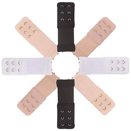 MELLIEX BH Verlängerung Verschluss Bra Extender Strap Elastisch Band Weich Gurt Erweiterung 3 Reihen 2 Haken - 8 Stück (Schwarz, Weiß, Beige, Hautfarbe)