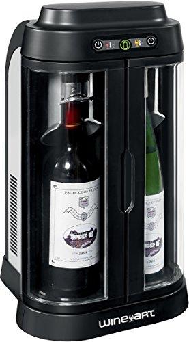 Wine Art ACI-WNA100CE - Barra de vino, 2 botellas, color negro y plateado