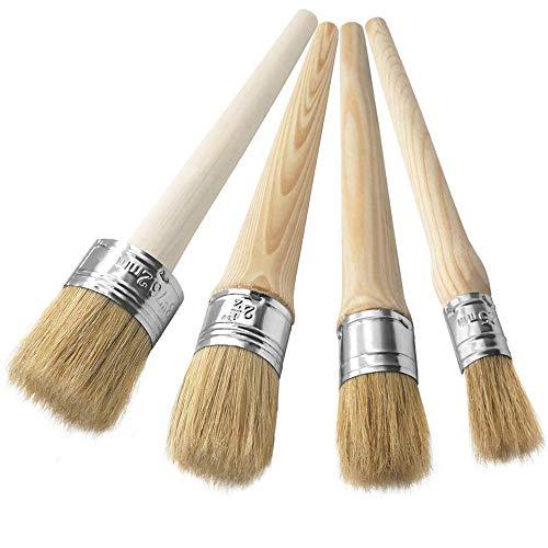 ASelected Möbelpinsel für Kreidefarbe – Naturborsten, rund, Wachspinsel-Set zum Malen, Wachsen von Möbeln, Heimdekor, 20 mm, 30 mm, 40 mm, 50 mm, 4 Stück