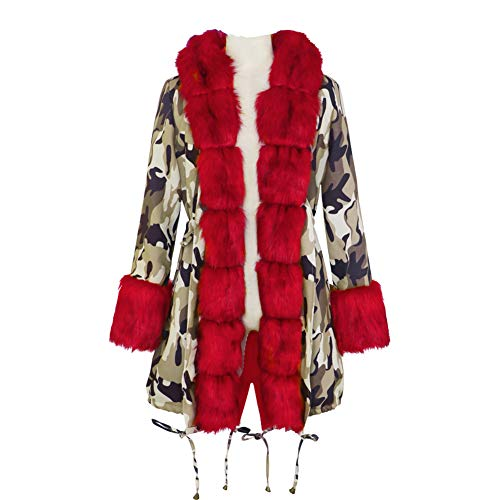 BIXUYAO Womens Faux Bont Gevoerde Jassen/Winter Hooded Jacket Outdoor Mid-Lengte Warm Down Coat