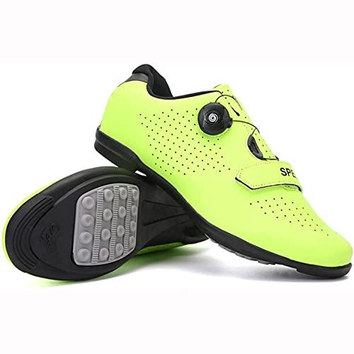 Zapatillas De Ciclismo, Suela De Goma Y Zapatos De Bicicleta De Montaña, Zapatos De Bicicleta Interior Sin Llave De No Bloqueo Transpirables Con Sistema De Cordón Rotativo Rápido VIIPOO,Yellow-37 EU