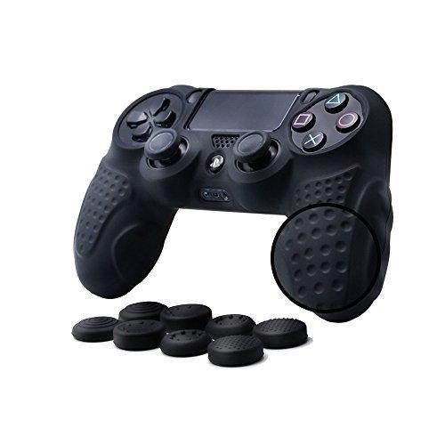 CHIN FAI für PS4 Controller Schutz-Hülle,Silikon Anti-Rutsch 8 Daumen Griffe Skin Grip Schutzhülle für Sony PS4 / Slim/Pro Controller (Schwarz)