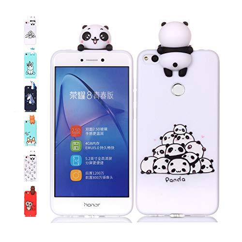 Universecase Funda Huawei P8 Lite 2017 Panda Transparente Squishy Kawaii Juguete Toy Animal Silicona TPU Clear Transparente Gel Bumper Shell Back Cover Inquebrantable Carcasa Cute para Chicas