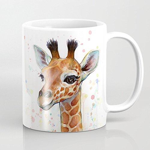 Tasse à café en forme de girafe aquarelle 311.8 g pour cadeaux d'anniversaire, cadeaux de Noël, cadeaux de mariage